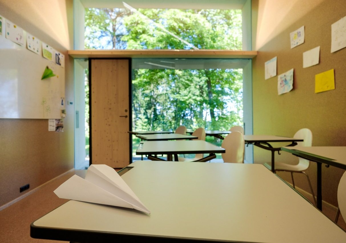KODA school classroom with paper airplane_photo by Oliver Moosus